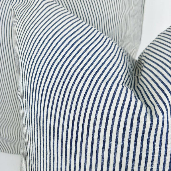 Cushion Pure French Linen Yarn Dyed Striped Feather Filled 50cm x 50cm -Navy White