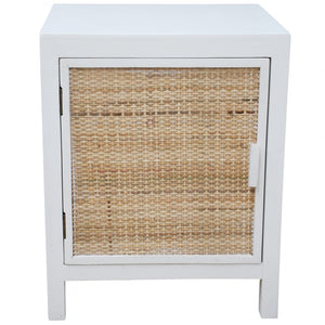 Bedside White and Rattan