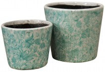 Ceramic Pots Garden Vine Set Of Two