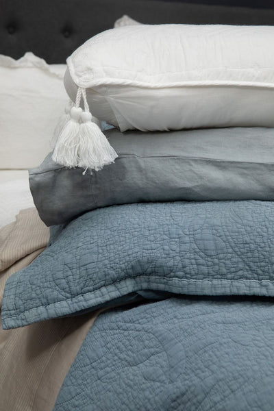 Bed Linen Cotton Coverlet + 2 Pillow cases Stonewashed Jardin  Blue