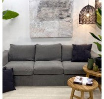 Sofa Charcoal Linen 3 Seater