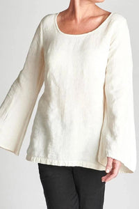 Top 100% European Linen White With A Bell Sleeve