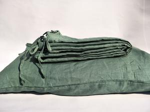 Bed Linen Pure French Linen Quilt Cover + 2 Pillow Cases Sage