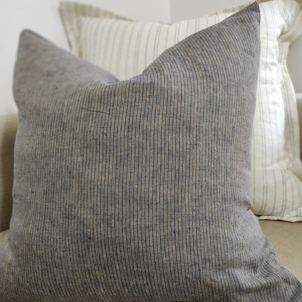 Cushion Pure French Linen Yarn Dyed  Striped Feather Filled 50cm or 60cm