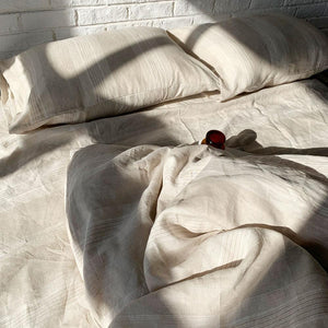 Bed Linen Pure French Linen Oxford Yarn  Dyed Striped Quilt Set