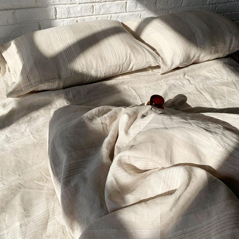 Bed Linen Pure French Linen Quilt Cover + 2 Pillow case Oxford Yarn stripe