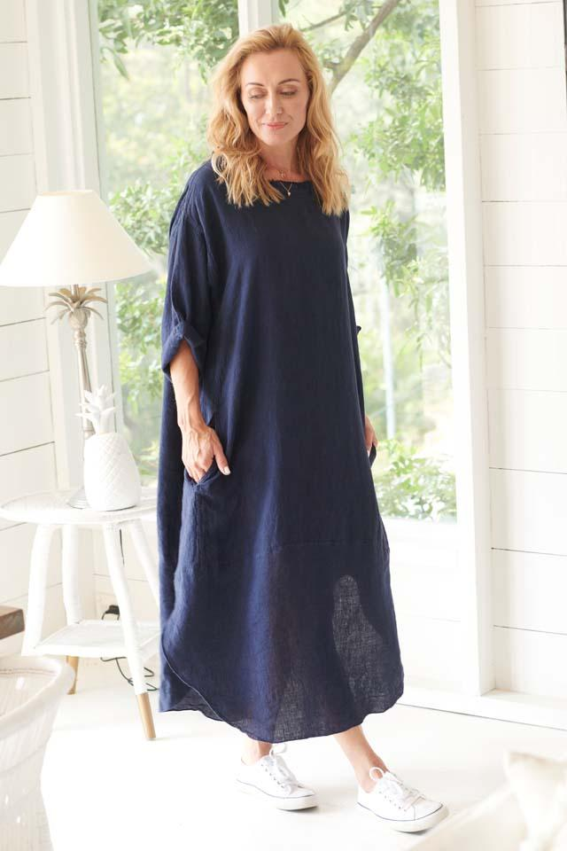 Dress 100% European Linen Navy