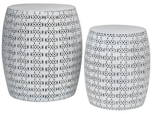 Side Table White Metal Set of Two
