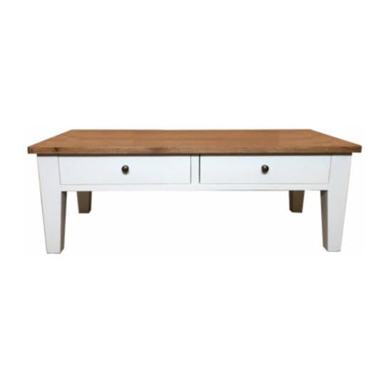 Coffee Table Oak Top White Painted Timber Base