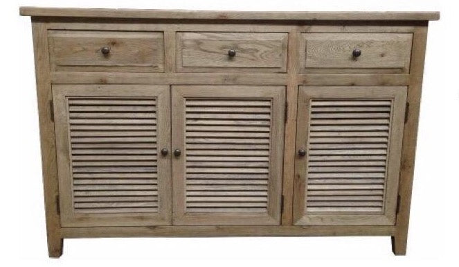Buffet Solid Oak Timber Lourve 3 Door 3 Drawer