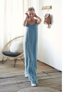 Dress Maxi European Linen Blue Azure