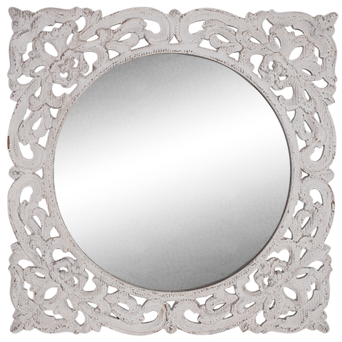 Mirror White Wood Carved Frame