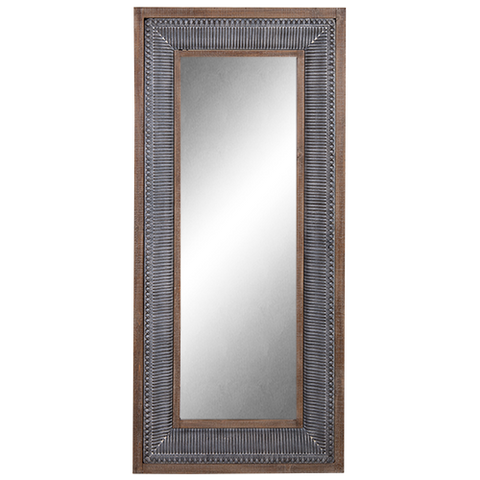 Mirror Enamel and Wood Tall Frame -Gris