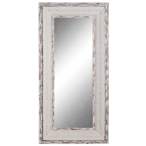 Mirror Enamel & Wood Tall Frame -rustic white