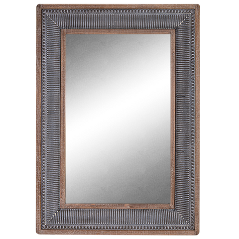 Mirror Enamel & Wood Rectangle Frame-Gris