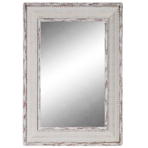 Mirror Enamel & Wood Rectangle Frame- rustic white