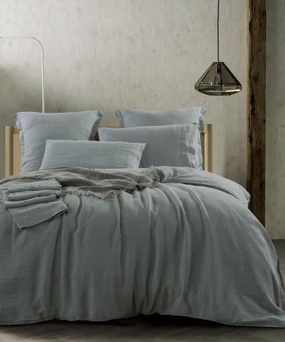 Bed linen Heavy Weight Pure French Linen Sheet Set Duck Egg Blue