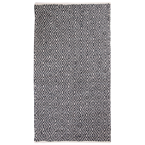 Rug black and Beige Leather 200cm x 140cm