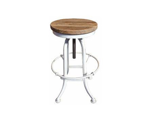 Stool Swivel Recycled Elm And Iron white