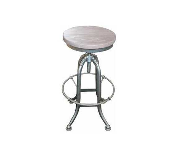 Stool Swivel Recycled Elm and Iron Grey Wash Top