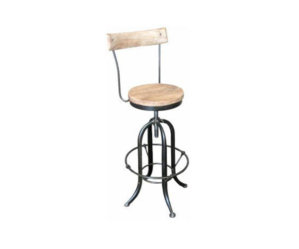 Stool Swivel Recycled Elm With Iron And A back Rest