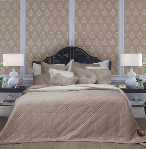 Bed Linen Cotton Coverlet Taupe + 2 matching Pillow Cases