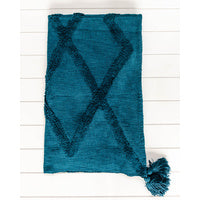Throws Cotton With Tassels Teal Colour
