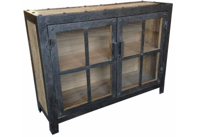 Cabinet Glass With Iron and Recycled Elm 2 Door Black