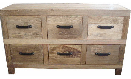 Drawers recycled natural timber