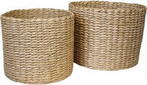 Basket Woven Natural Set Of Two