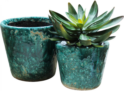 Ceramic Pots Teal Set Of Two