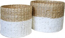 Basket Weave Set of two white/natural