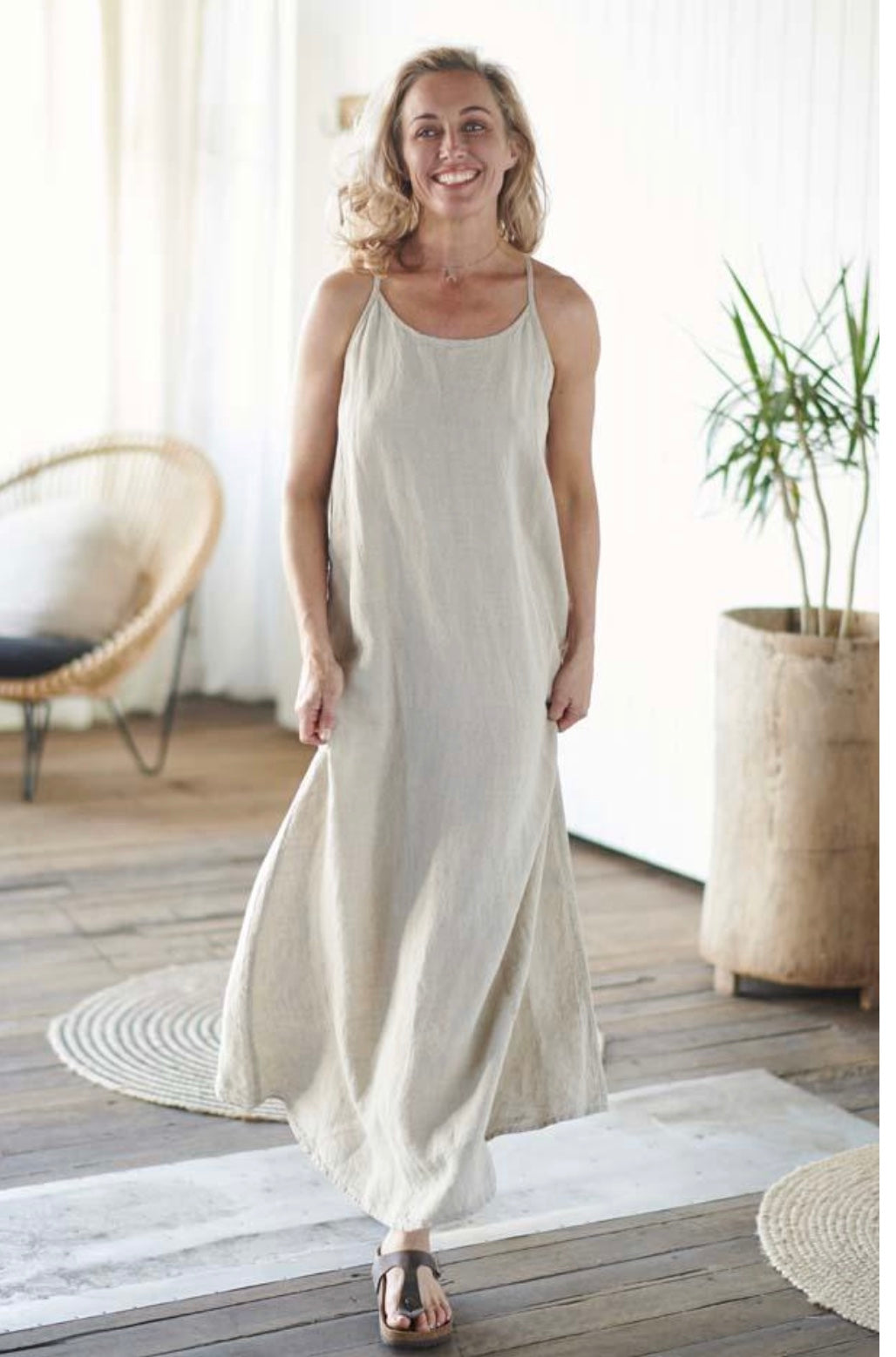Dress Maxi European Linen Natural