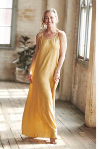 Dress Maxi European Linen Spun Gold