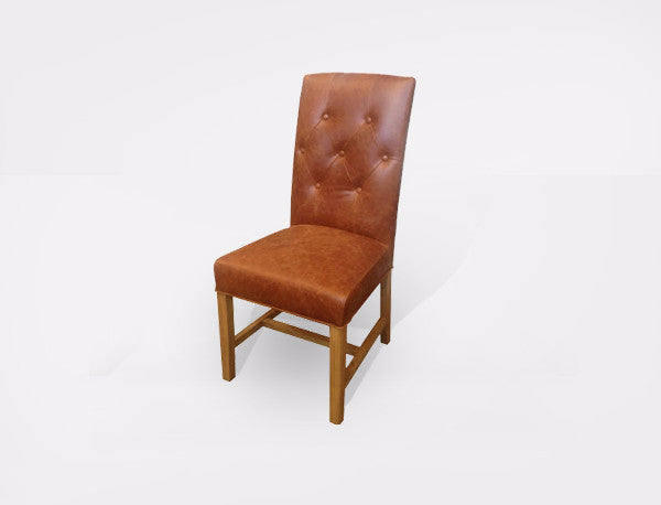 Chair Leather Monte Tan Square back