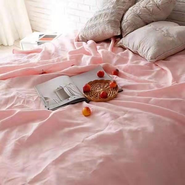 Bed Linen Pure French Linen Quilt Cover + 2 Pillow Cases  Blush Pink