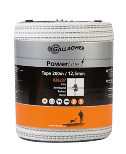 Gallagher 12.5mm White Tape 200m