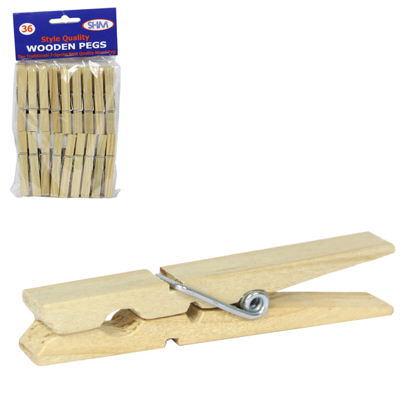 Birchwood Traditional Spring Wood Clothes Pegs 36-Pack