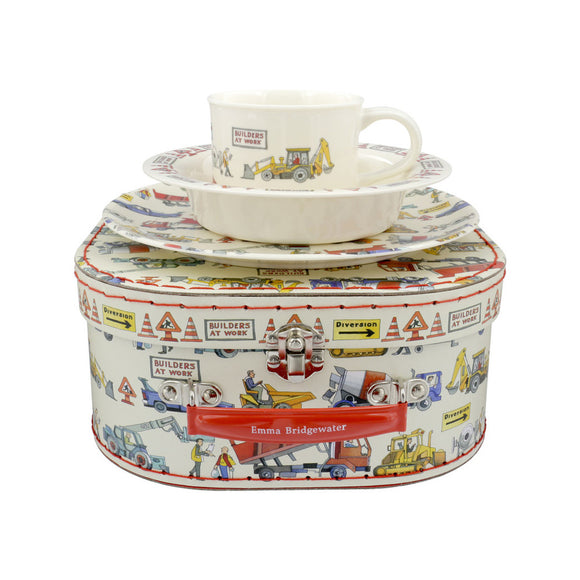 Emma Bridgewater Builders At Work 3 Piece Melamine Set Suitcase