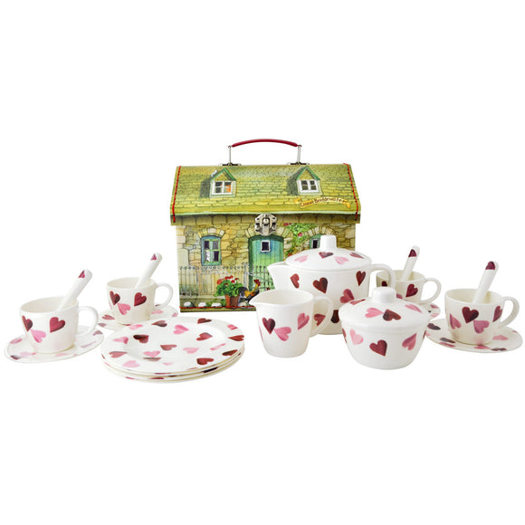Emma Bridgewater Pink Hearts Dollies Tea Set House Carry Case
