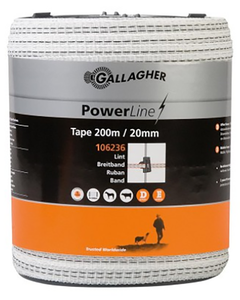 Gallagher 20mm White Tape 200m