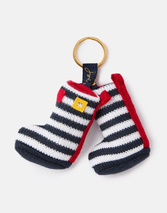 Joules Coxwold Knitted Keyring Navy Welly