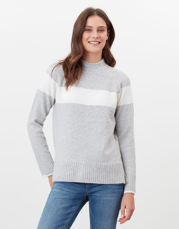 Joules Chanelle Colour Block Mock Neck Jumper