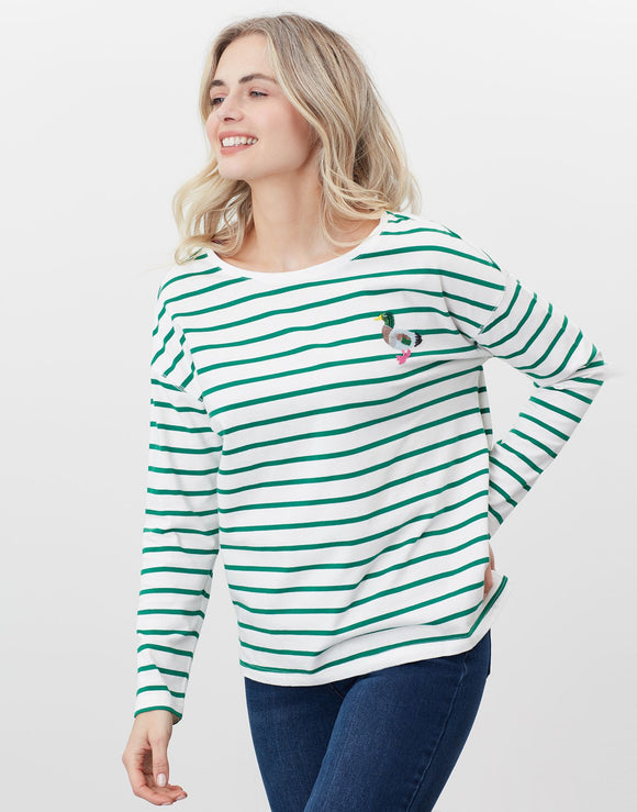 Joules Marina Print Dropped Shoulder Top