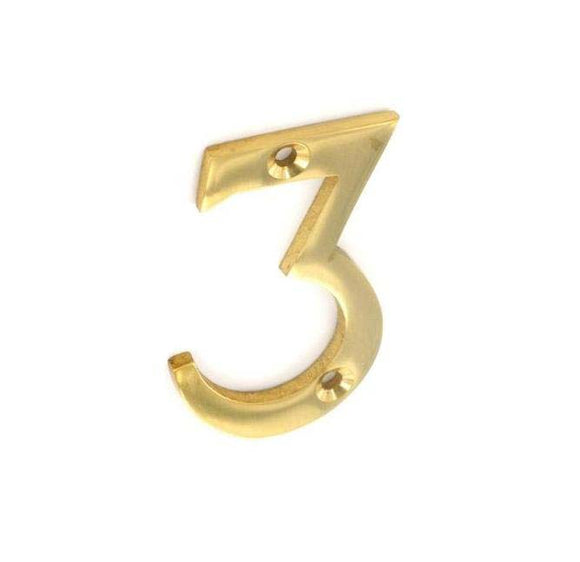 Securit Brass Numeral 3 50mm Pack Of 1