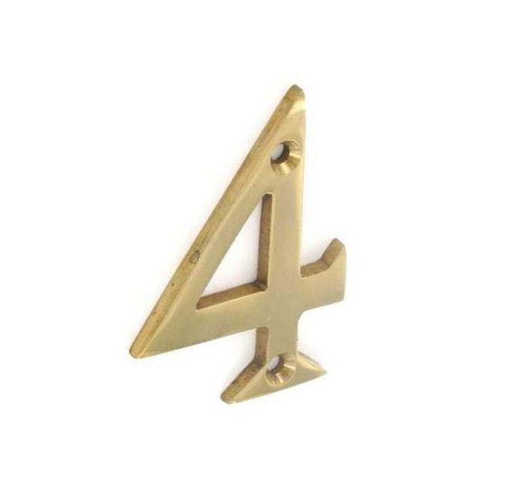 Securit Brass Numeral 4 50mm Pack Of 1
