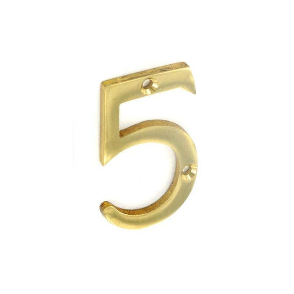 Securit Brass Numeral 5 50mm Pack Of 1