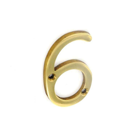 Securit Brass Numeral 6 50mm Pack Of 1