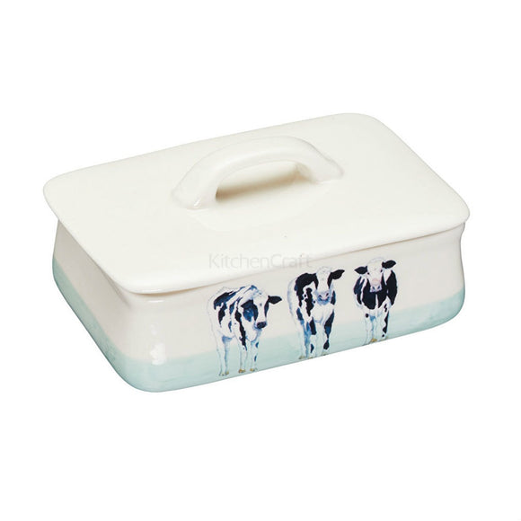 Apple Farm Stoneware Butter Dish Cows