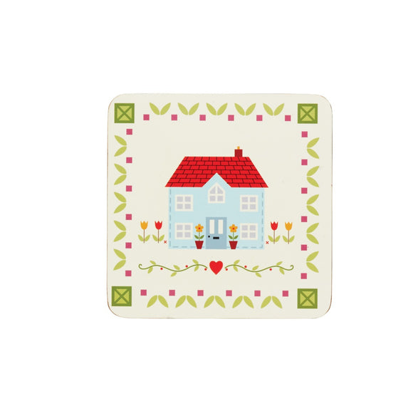 KitchenCraft Home Sweet Home Cork Coasters x4
